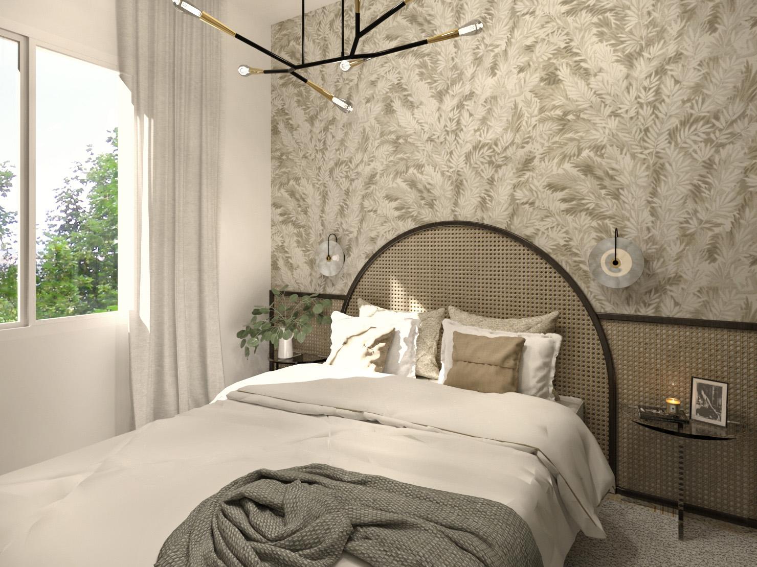 jolie chambre avec papier peint