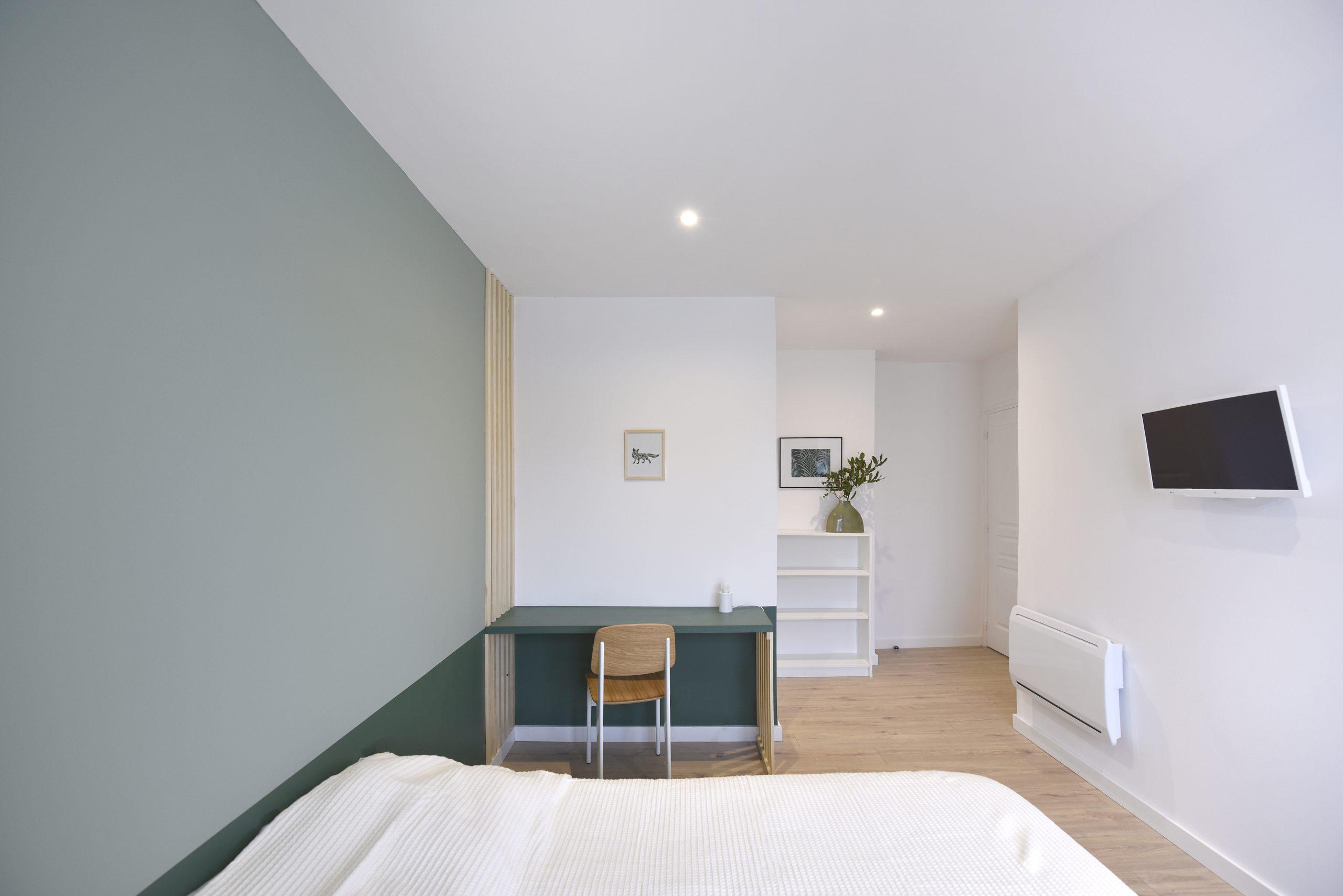 chambre verte par architecte d'interieur bordeaux