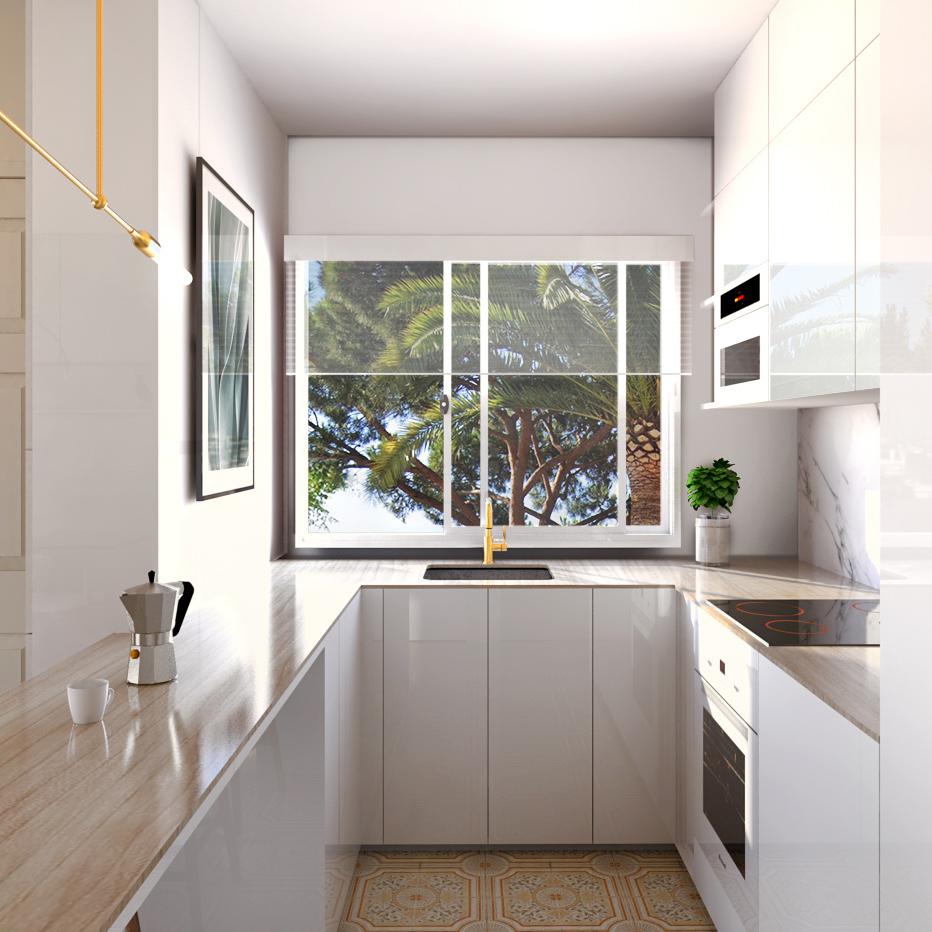 cuisine ouverte blanche marbre bois et bar