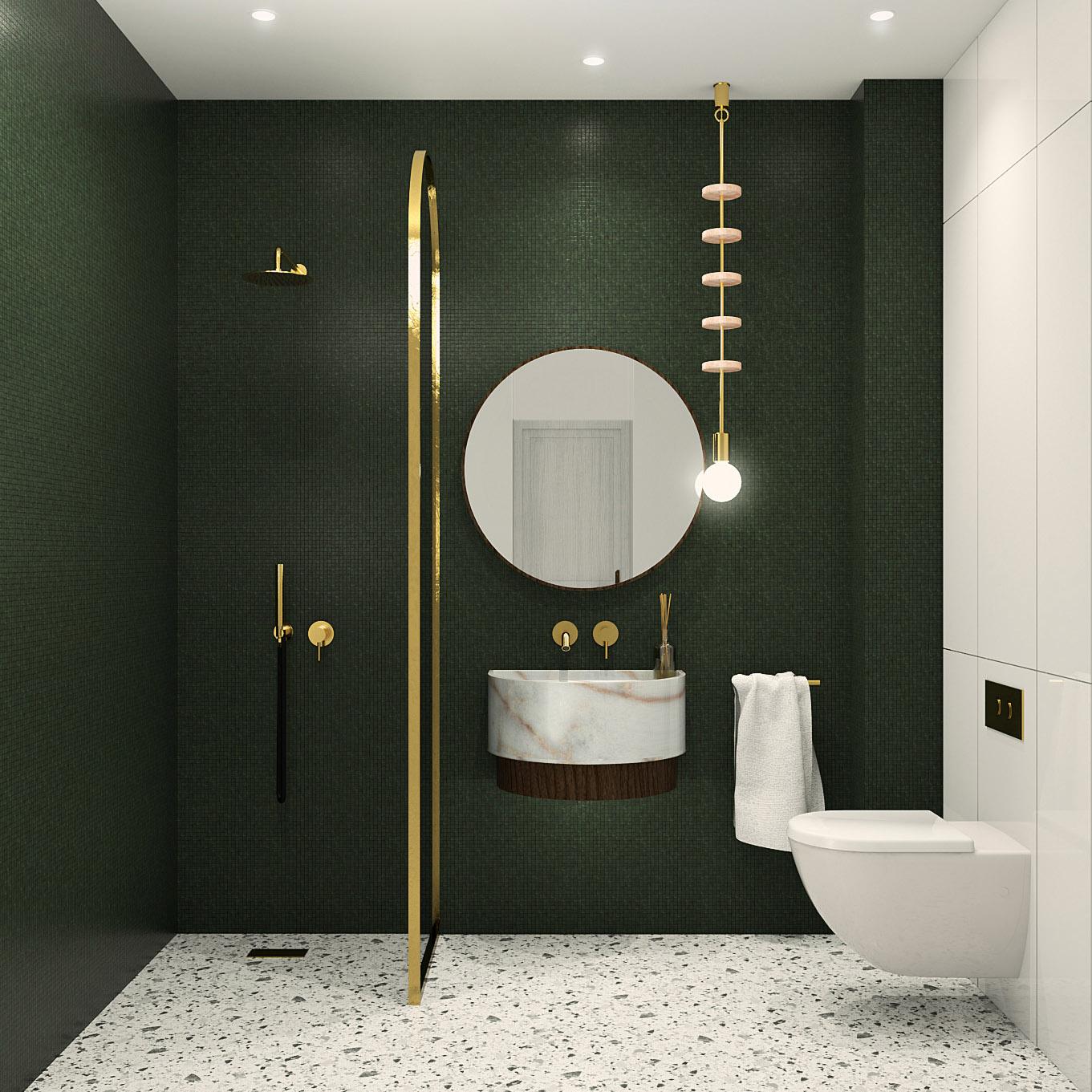 salle d'eau, avec douche et toilettes, décoration