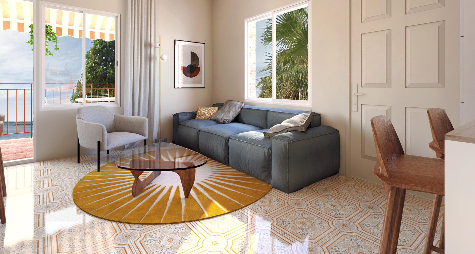 près rendu 3d : salon décoré par une architecte d'interieur