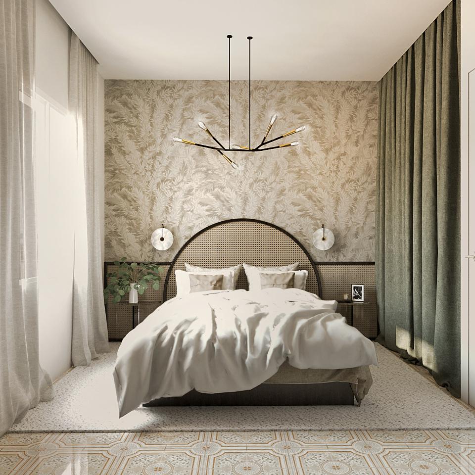 tete de lit cannage, suspension, papier peint