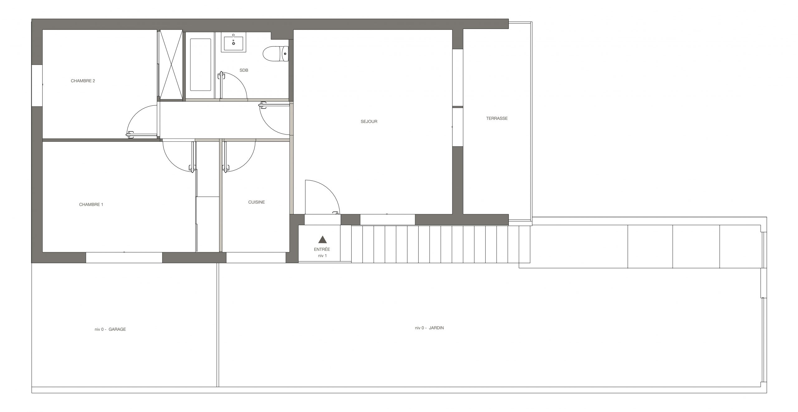 plan de l'appartement avant rénovation
