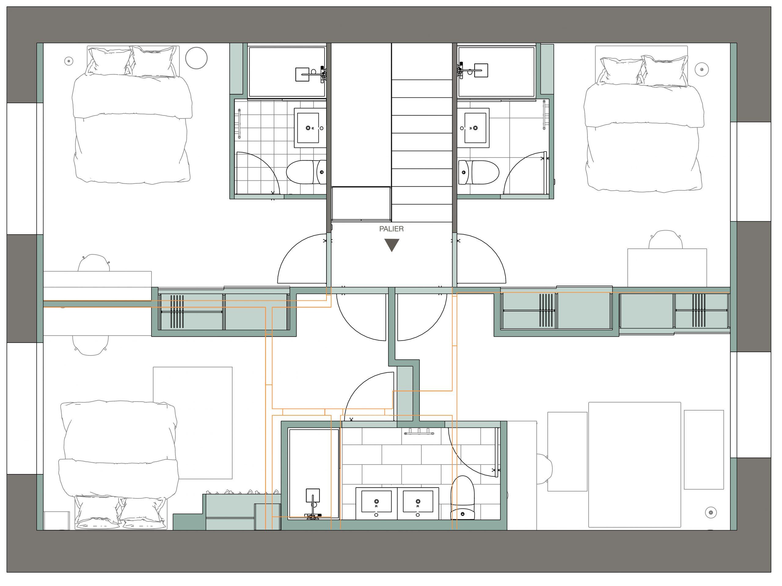 étage 2 : plan après