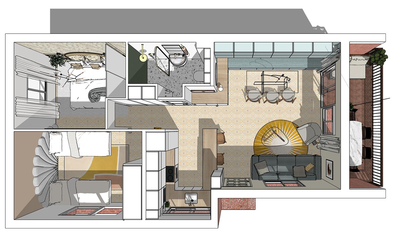 plan 3D vue de dessus appartement