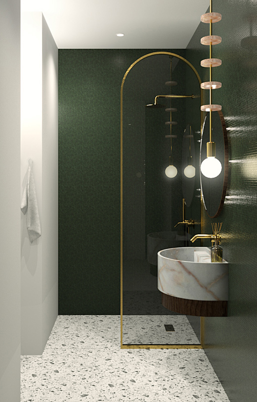 salle de bain après, verte, mosaïque, doré, marbre