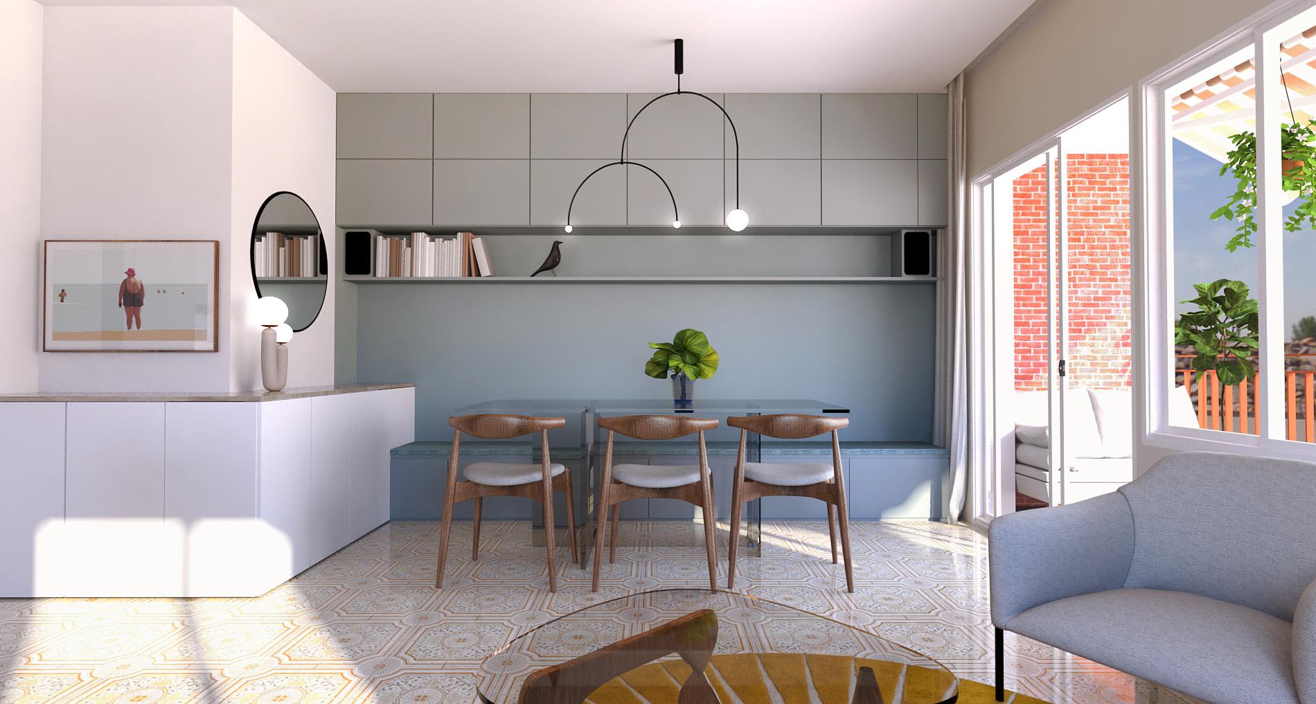 salle à manger avec placard intégré et banquette rangement