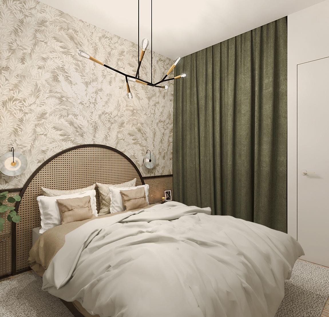 chambre après, rendu 3d, tête de lit en cannage