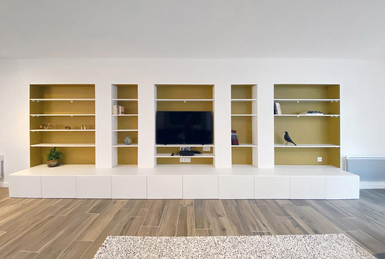Bibliothèque/meuble TV sur mesure