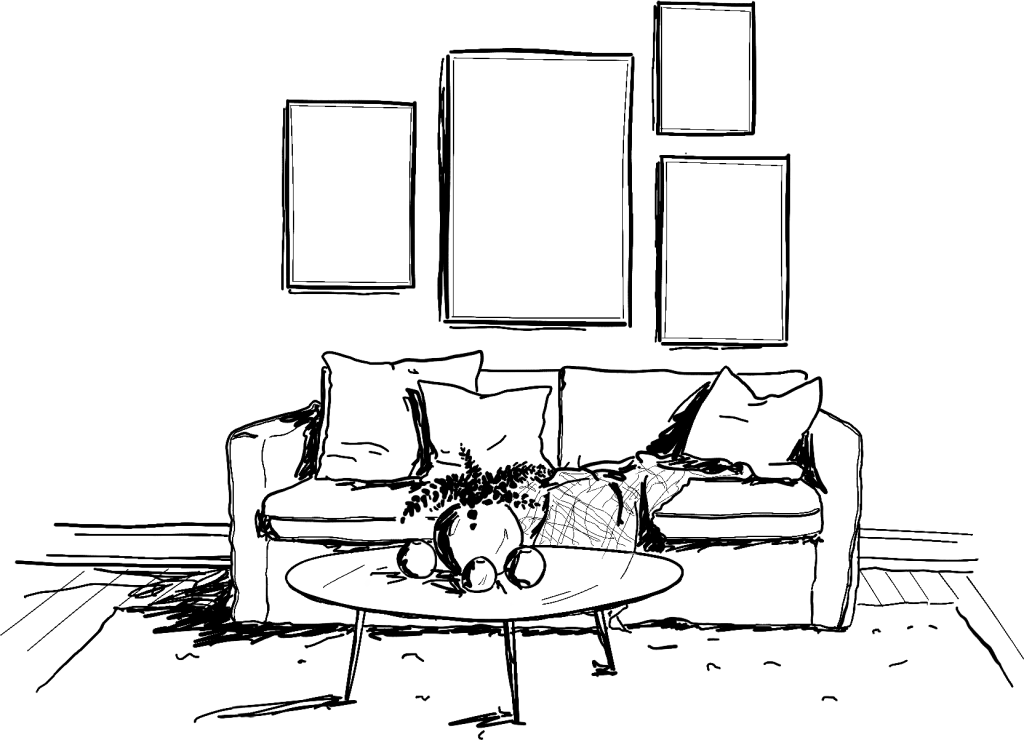 dessin en noir et blanc d'un canapé avec des cadres
