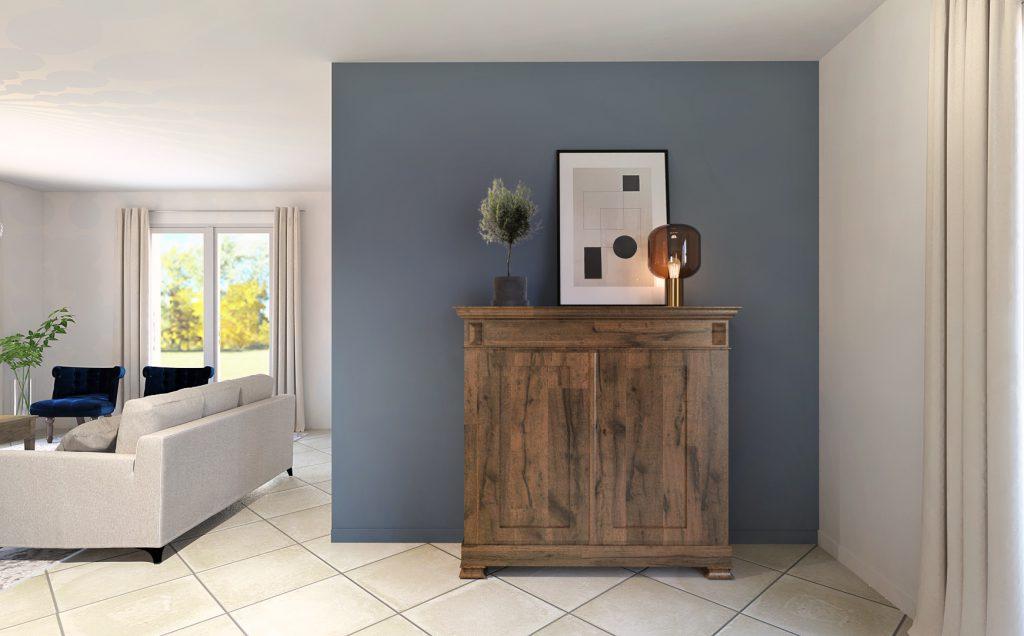 mur bleu du salon et son vaisselier en bois