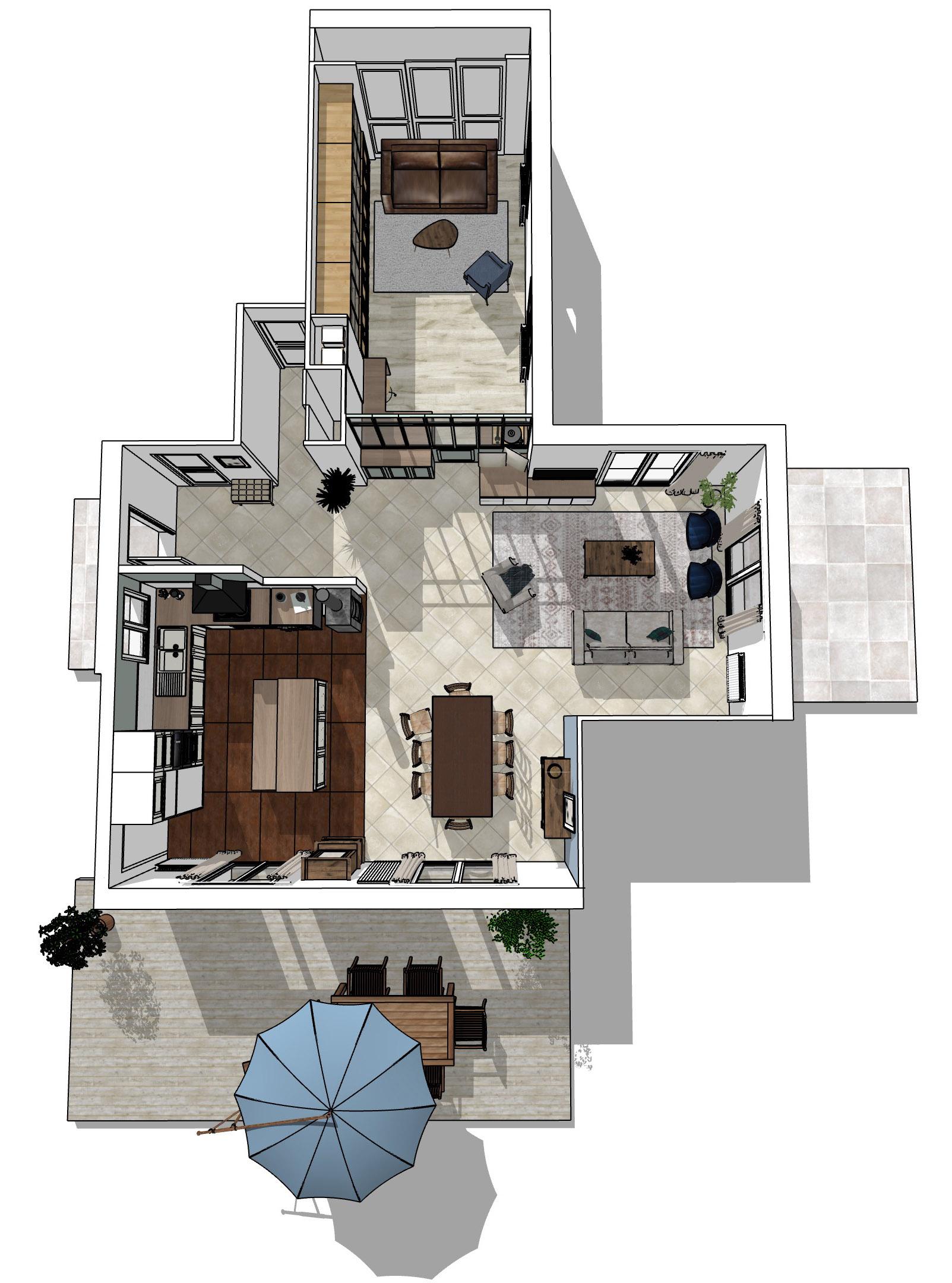plan 3D vue de dessus de l' aménagement de la maison