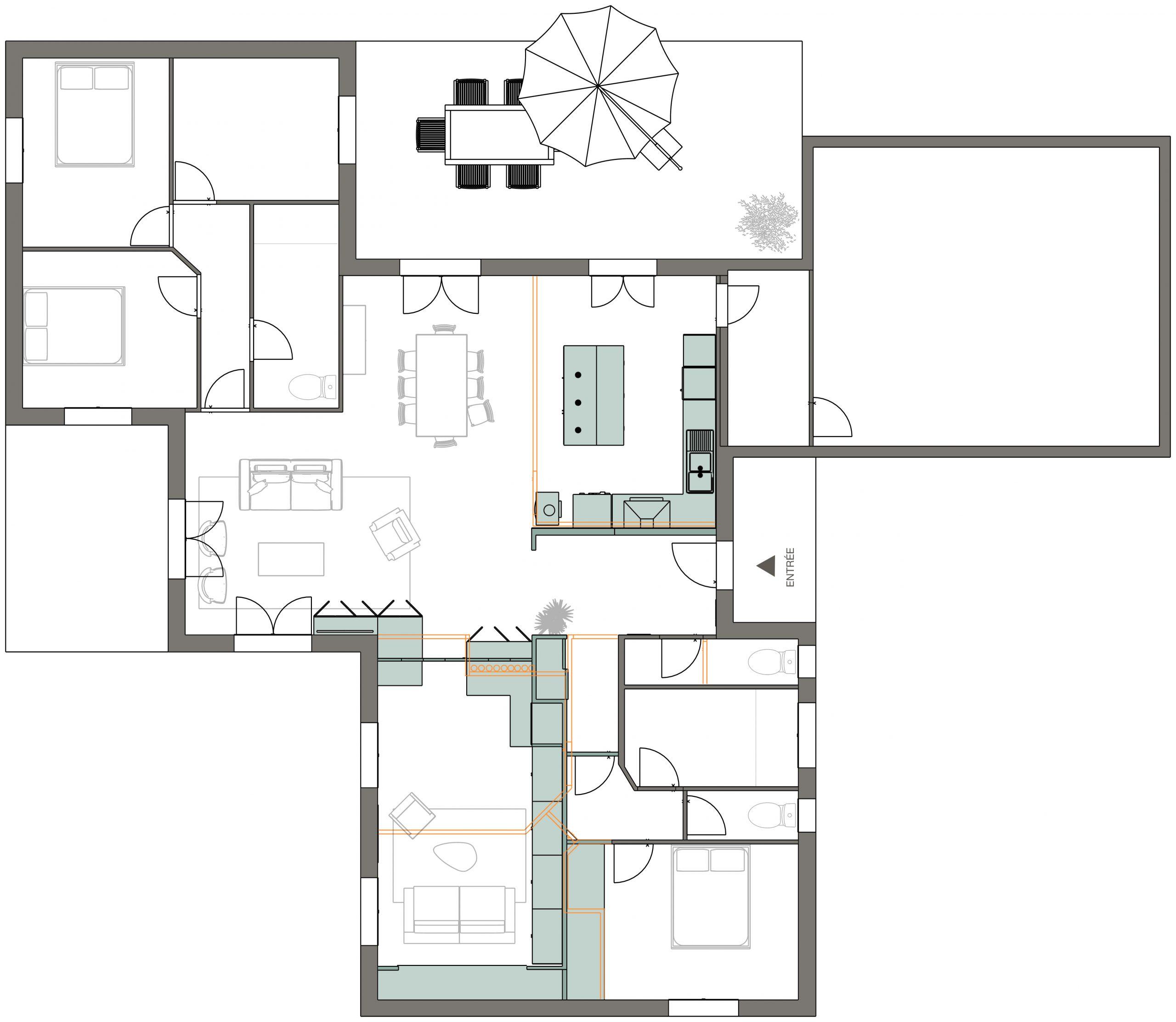 plan de la maison après travaux