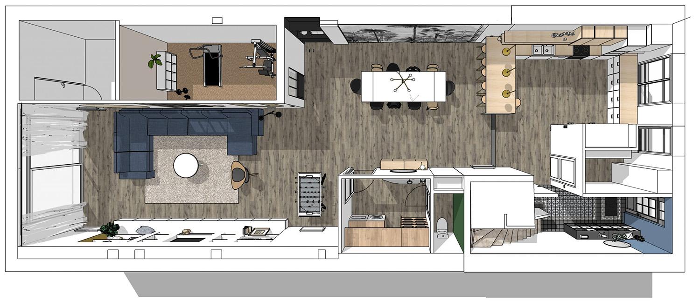 plan 3D, vue de dessus : RDC
