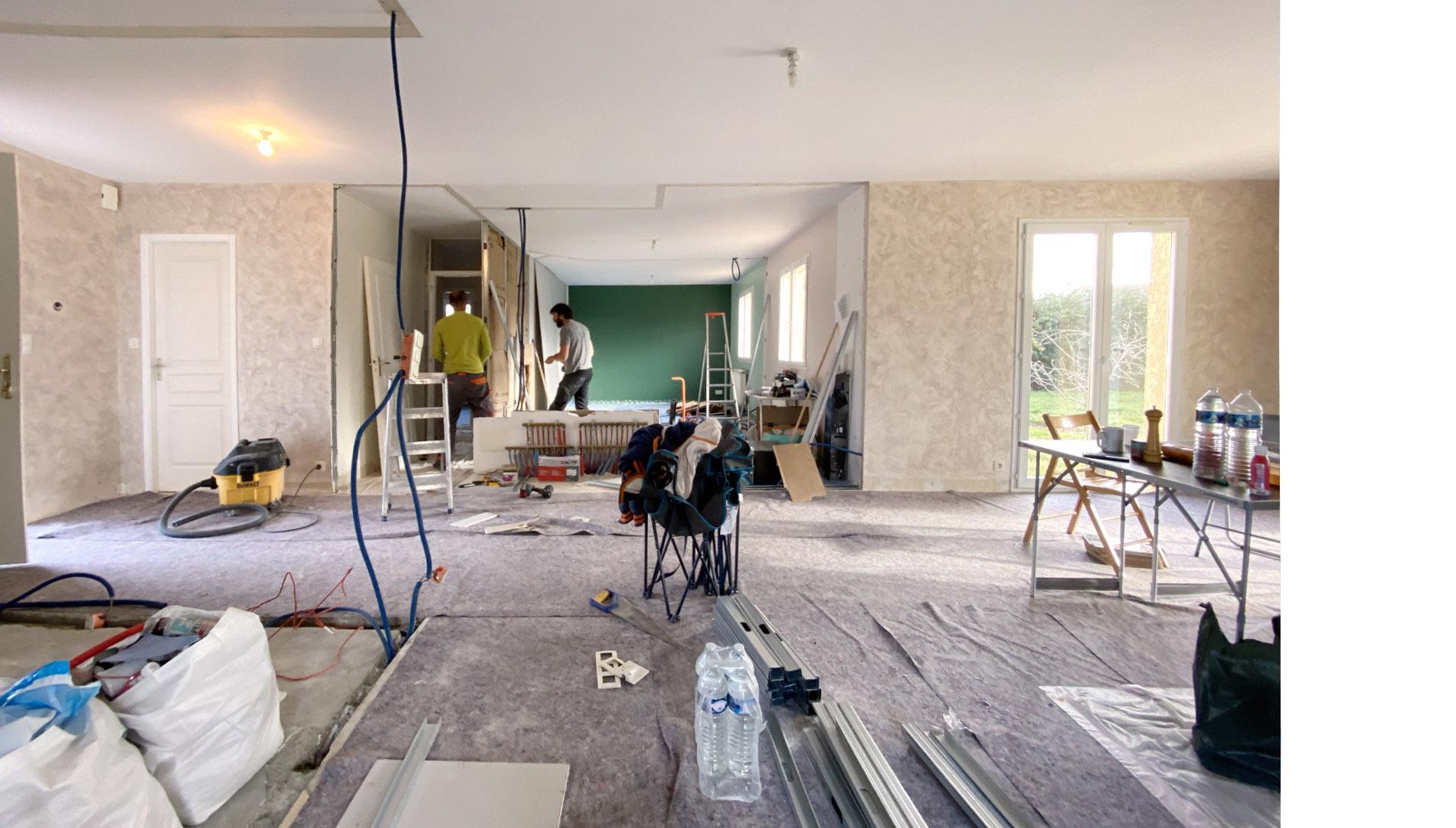 photo des travaux après avoir ouvert et déposé les murs