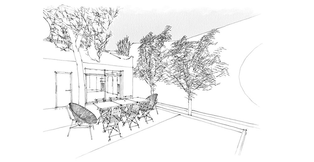 dessin jardin, decorateur interieur bordeaux
