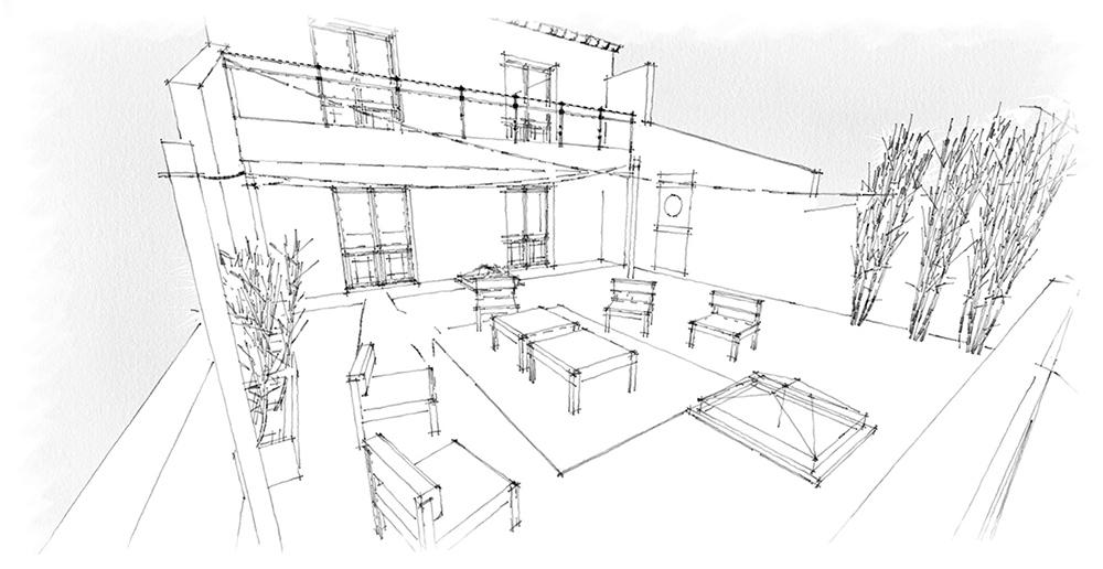 dessin exterieur d'un archi interieur