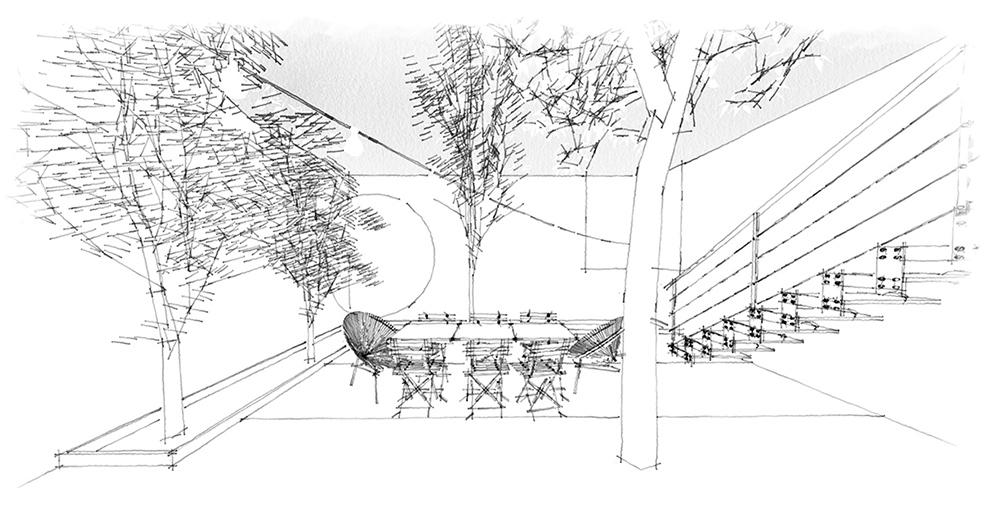 croquis jardin, decorateur interieur bordeaux