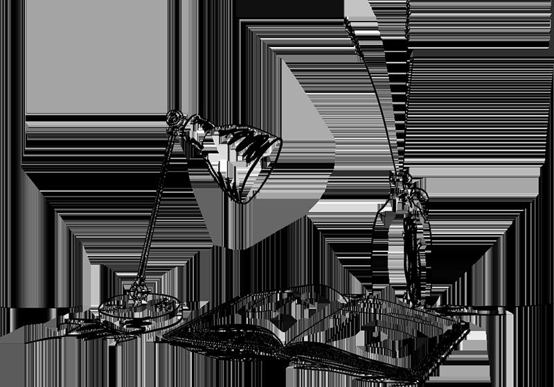dessin en noir et blanc d'une lampe