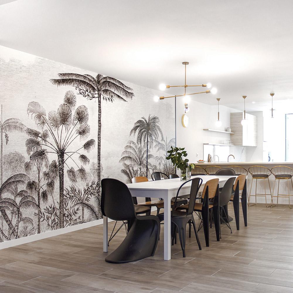 salle à manger design avec joli papier peint