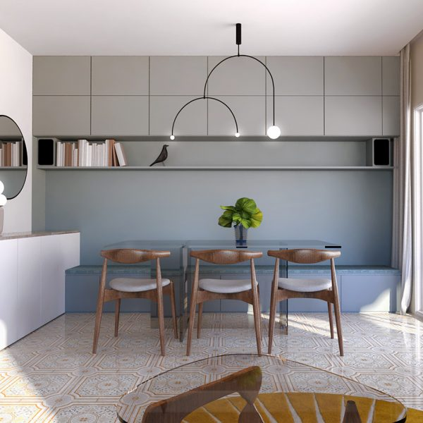 salle à manger bleue avec banquette et placard intégré
